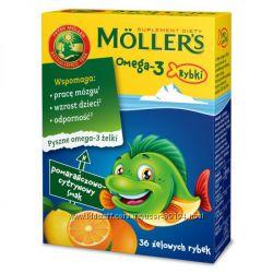 Рыбий жир Омега 3 фирмы Mоllers Норвегия жидкий 250 мл, капсулы, жел. рыбки