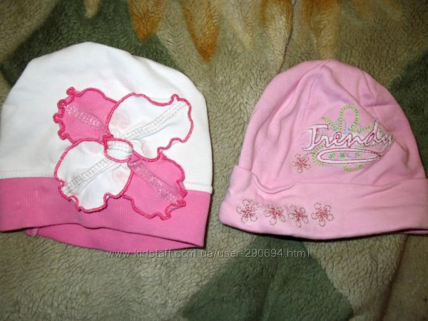 Продам шапочки на девочку разных размеров от 0 до 2, 5 лет