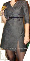 Темно-серое плотное мини-платье