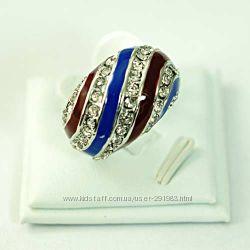 Шикарное кольцо - цветная эмаль и камни