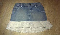 Супер юбочка джинсовая с набивным кружевом