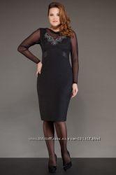 Элегантное черное платье с вставкой-сеточкой, р. 56