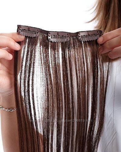 Накладные волосы на заколках, цвет шоколад