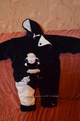 Теплый велюровый комбинезончик для малыша