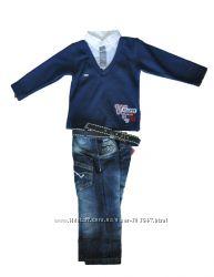 Стильный костюмчик двоечка, кофта обманка и джинсы. Турция.
