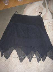 Эффектная,  нарядная, шикарная шифоновая юбка черная, украшена паетками