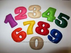 кольорові цифри з фетру