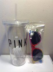 Victorias Secret Стакан Тамблер Pink с очками