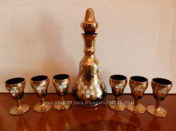Ликеро-водочный набор богемское стекло смальта