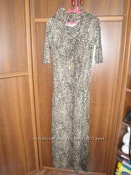 Платье в пол, леопардовый принт