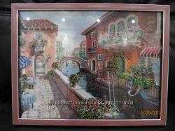 Продам картину Венеция вышитую частично бисером