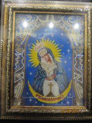 Икона ручной работы Богород Остробрамская вышитая чешским бисером в наличии
