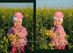 Модные шапочки для девочек с цветами