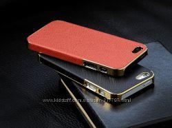 Бампер OYO Gold чехол кожа PU велюр iPhone 5 5S SE