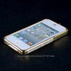 Стильный металлический бампер со стразами камнями для iPhone 4 4s 5 5s se