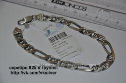 Элитные мужские серебряные браслеты покрытые оружейным металлом.