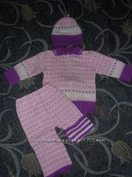теплый вязаный костюм кофта, штаны, шапка
