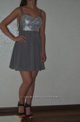 Платье на новый год, серое в пайетки h&m