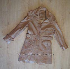 продам крутое кожаное пальто размер eur 38 бренд Tara беж