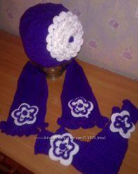 шапка, шарф и митенки на заказ