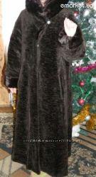 Красивая длинная коричневая шуба 44-46р.
