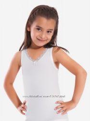 Майки и футболки белые для девочки. Для садика и школы. Фирма OZTAS и ILKE