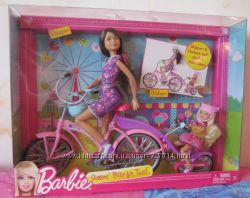 Куклы Барби Barbie на велосипеде Шкипер и Челси из США Mattel велосипед