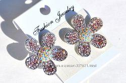 Качественная бижутерия FASHION JEWELRY, серьги-гвоздики в форме цветов