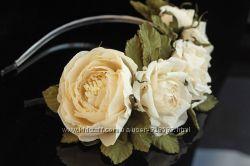 Свадебный ободок из роз Cream flowers