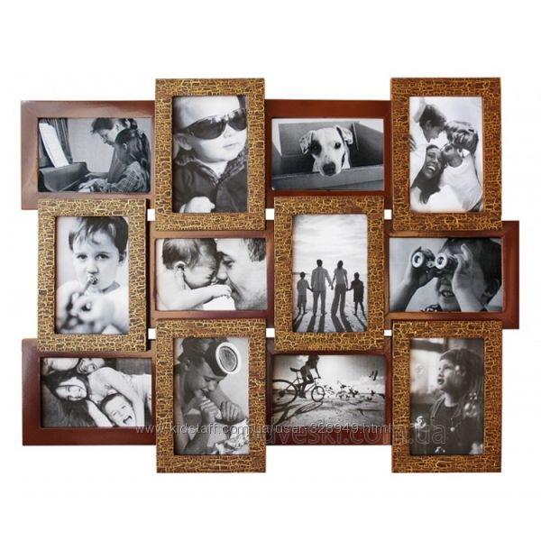 Фоторамка на несколько фото из дерева Руноко Шоколад