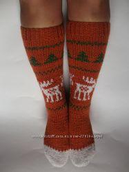 Вязані шкарпетки з оленями
