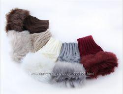 Женские перчатки без пальцев митенки с искусственным мехом разные цвета
