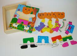 Деревянные развивающие игрушки наборы-вкладыши Одеть Мишку