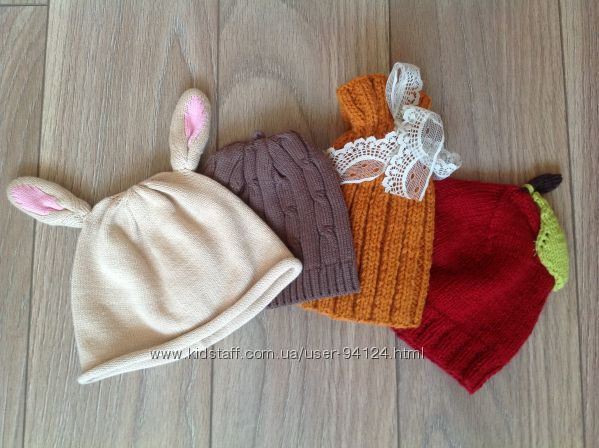 фирменные шапочки зима и деми девочкам и мальчикам Next, Chicco