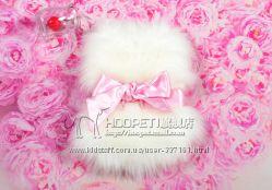 Шикарная меховая накидка для собак, белая с розовым бантиком