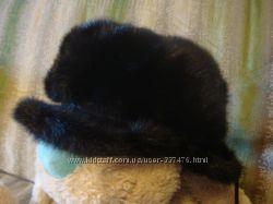 норковая шапка-кепи , черного цвета
