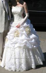 Красивое свадебное платье бу 1 раз, счастливое, невенчанное, белое, шампань
