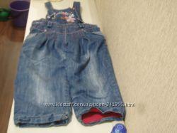 Утепленный джинсовый полукомбинезон для девочки