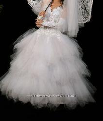 Шикарное белое свадебное платье XS-S-M