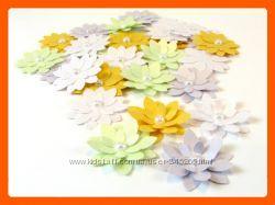 Бумажные цветы с перламутровым блеском, ручной работы. скрапбукинг