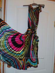 Яркое платье гофре, плиссе J&Y. Размер S-M шелк