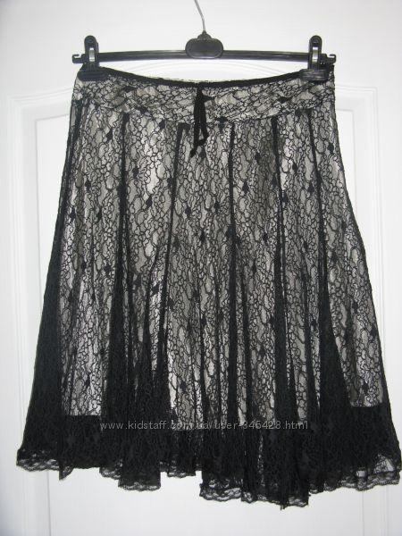 Черно-белая ажурная юбка. Размер S M.