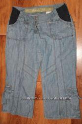 Фирменные джинсовые бриджи для беременной летние