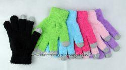 Яркие теплые махровые перчатки с сенсорными пальчиками