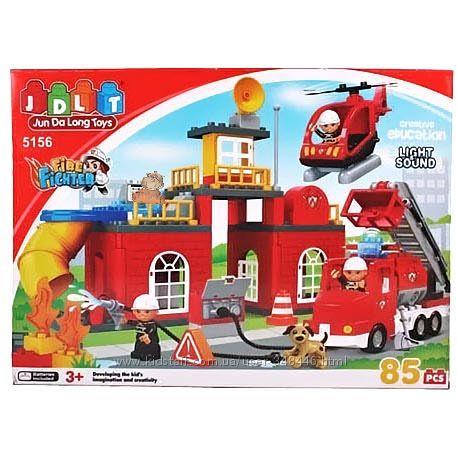 Конструктор детский 5156 Пожарка, Пожарная станция JDLT, крупные детали
