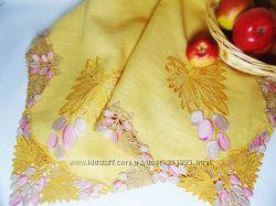 Скатерть вышитая Желтая скатерть Скатерть на кухонный стол Вышивка Лен