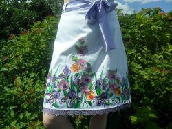 Вышитая юбка Джинсовая юбка Белая юбка выше колена Летняя красивая юбка