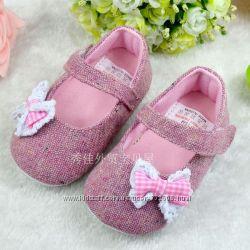Супермягкие туфельки натуральная ткань размеры 6-12мес, 12-18мес
