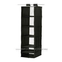 IKEA Модуль для хранения с 6 отделениями, черный, белый