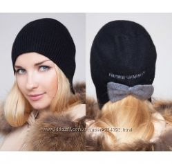 Armani  шапка зимняя белая черная беж